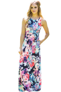Painting Floral Print Sleeveless Long Boho Dress