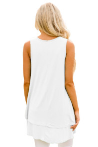 White Ruffled Layer Asymmetric Hem Tunic Tank