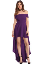 Purple High Low Hem Off Shoulder Party Dress