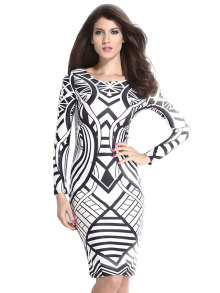 Tribal Aztec Black White Tight-fitting Midi Dress