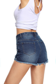 Dark Blue Faded Destroyed Denim Mini Shorts