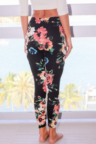 Black Floral Stretchy Leggings