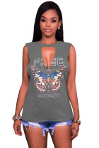 Dark Grey Freely Slash Butterfly Print Tank Top