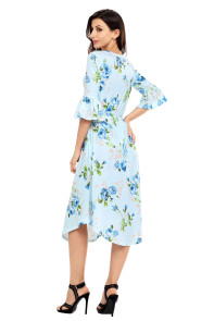 Light Blue 3/4 Bell Sleeve Floral Midi Dress
