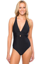 Black Self Tie One Piece Swimsuit