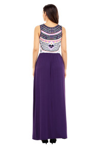 Stylish Aztec Print Sleeveless Purple Maxi Dress