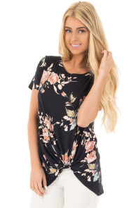 Black Floral Short Sleeve Knot Top