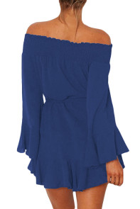 Blue Flare Sleeve Drop Hem Pleated Off Shoulder Dress