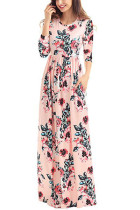 Classic Floral Print Pink 3/4 Sleeve Maxi Dress