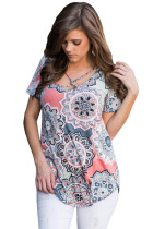 Grey Boho Print Crisscross V Neck Casual Shirt