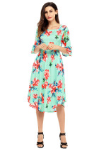 Green 3/4 Bell Sleeve Floral Midi Dress