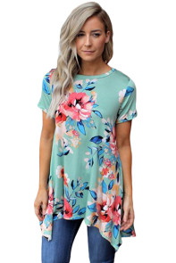 Mint Floral Short Sleeve Tunic