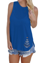 Blue Laser Cut Detail Tank Top