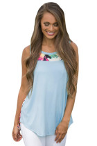 Blue Front Floral Print Back High-low Hem Tank