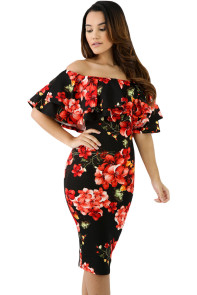 Black Red Floral Layered Ruffle Off Shoulder Midi Dress