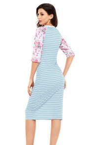 Blue White Stripe Floral Sleeve Midi Dress