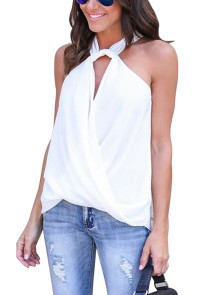 White Athena Drape Wrapped Tank Top