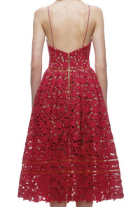 Burgundy Lace Hollow Out Nude Illusion Party Dress