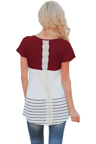 Burgundy Color Block Striped Long Top