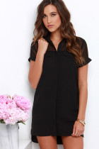 Boo Thang Black Button-Up Shift Dress