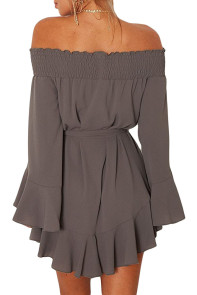 Gray Flare Sleeve Drop Hem Pleated Off Shoulder Dress