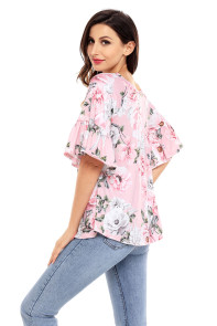 Pink Big Floral Print Ruffle Sleeve Top