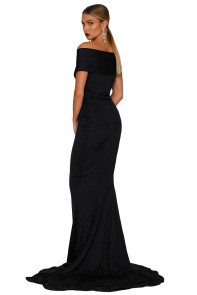 Black Off-shoulder Mermaid Wedding Party Gown