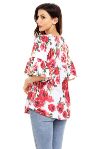 White Big Floral Print Ruffle Sleeve Top