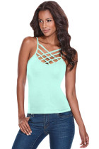 Mint Caged Front Detail Cami Top