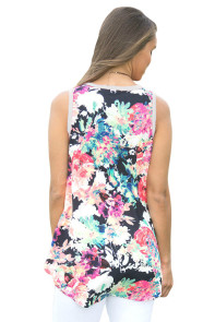 Gray Front Floral Print Back High-low Hem Tank