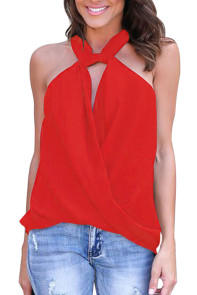 Red Athena Drape Wrapped Tank Top