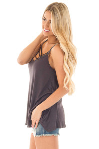Gray Spaghetti Strap Tank Top with Caged Neckline