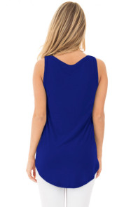 Blue Summer Side Slits Tank Top with Pocket