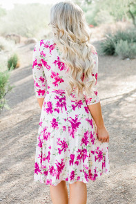 Fuchsia Blossom Print White Wrap Floral Dress