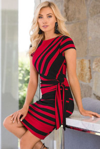 Red Black Stripe Knot Sheath Dress