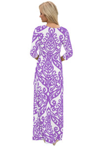 White Purple Damask Print Wrap V Neck Boho Dress