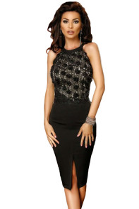 Black Rose Lace Top Midi Bodycon Dress