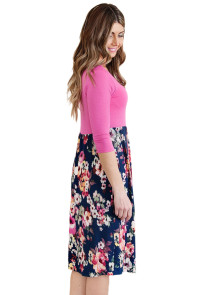 Rosy Bodice Floral Bottom Boho Dress