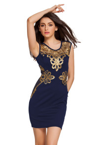 Sexy Sleeveless Foiled Applique Detail Shift Dress