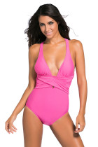 Rosy Self Tie One Piece Swimsuit