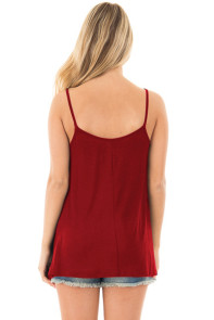 Red Spaghetti Strap Tank Top with Caged Neckline
