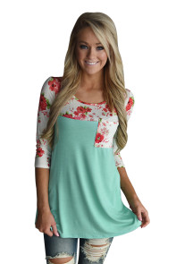 Floral Printed Green Womens Top