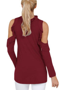 Burgundy Cold Shoulder Ruffle Top