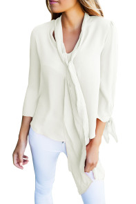 White Bow-tie Sleeved Blouse with Necktie