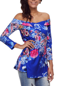 Blue Floral Off Shoulder Crisscross Top