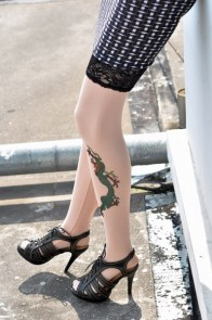 Green Lizard Tattoo Stockings