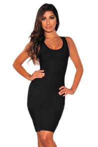 Black Bandage Gold Draped Chains Dress