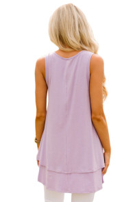 Lilac Ruffled Layer Asymmetric Hem Tunic Tank