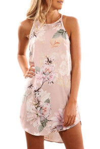 Summer Floral Print Pink Sleeveless Dress