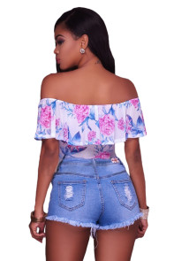 White Mesh Blue Floral Off Shoulder Ruffle Bodysuit